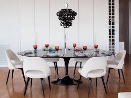 Modern White Satin Oval Extending Dining Table Dining Room Table - Black oval dining room table