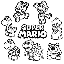 Small Picture Super Mario Coloring Page 01 Cross Stitch Mario Luigi