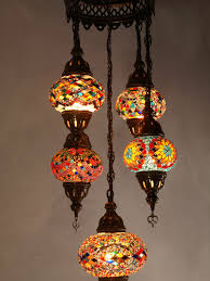 mosaic chandelier mixed 5 piece multi coloured