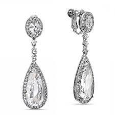fashion elegant chandelier earrings bling jewelry cz teadrop bridal chandelier earrings back clip on