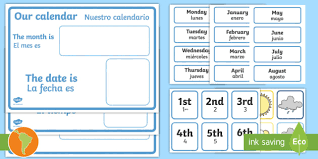 Daily Calendar Weather Chart English Spanish Weather