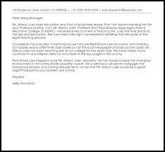 Professor Recommendation Letter Example Letter Samples