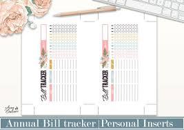 Printable Bill Tracker Monthly Bill Payment Checklist Annual Bill