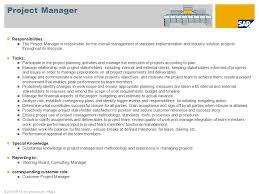 project organization  roles and responsibilities proposal for the    © sap ag  all rights reserved    page  project manager responsibilities
