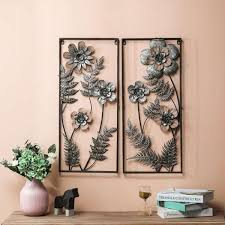 2 piece metal flower wall art panels