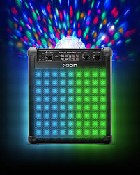 ion audio party rocker max 100 w rechargeable bluetooth party speaker with pulsating led party lights microphone and built in karaoke machine effects and