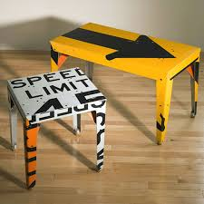 street sign furniture. transit traffic sign chair made our of signs street furniture