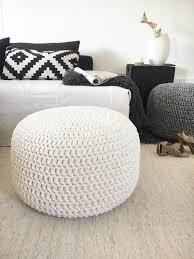 large crochet pouf ottoman pearl round