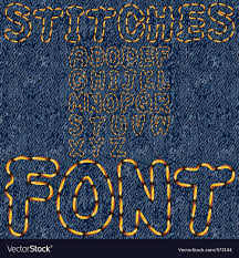 Stitches Font Denim Royalty Free Vector Image Vectorstock