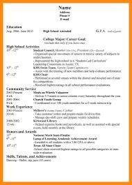 8 Sample College Resume High School Senior Dtn Info