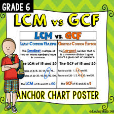 Greatest Common Factor Chart Least Common Multiple Lcm Vs Greatest Common Factor Gcf Anchor Chart