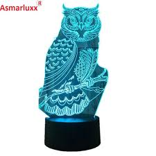 kids owl lamp owl led night light baby room decoration lamp acrylic color changing table lights kids owl lamp