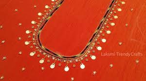 Lakshmi Rupu Blouse Designs Simple Aari Maggam Work Lakshmi Kasu Blouse Neck Design