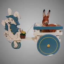 cute vintage easter wooden pull toy bunny cart emmie s antique doll castle ruby lane