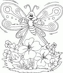 Butterfly Over Flowers Coloring Pages Printable