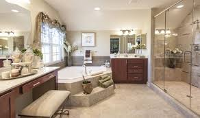 romantic bathroom design with curtains on windows and