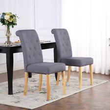 premium linen fabric dining living room chairs scroll high back dark grey
