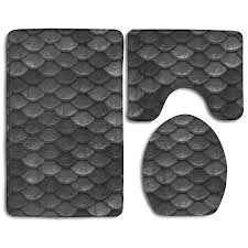 homes 3 piece bathroom rug set beautiful charcoal gray mermaid fish scales skidproof toilet bath rug mat u shape contour lid cover for shower spa