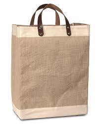 com eco friendly jute tote bag with cotton accents leather handles 13 w x 17 h x 8 gusset carrygreen bags kitchen dining