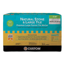 custom building s natural stone and large tile 50 lb white premium mortar