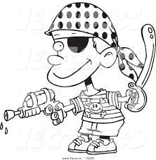 Printable Coloring Pages pirate coloring pages free : Vector of a Cartoon Pirate Boy Shooting Water Gun - Coloring Page ...