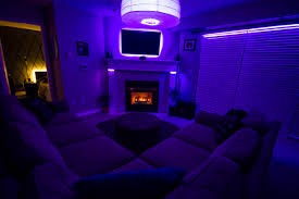 ambient room lighting. living room from couch with only accent lighting set to purple ambient