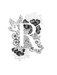Letter R Print Alphabet Calligraphy Typography Monogram