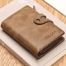 men s wallet genuine leather credit card holder zipper wallet khaki cod