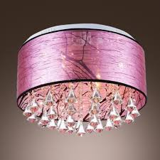 glamorous clear crystal falls and elegant purple fabric shade add charm to gorgeous flush mount ceiling