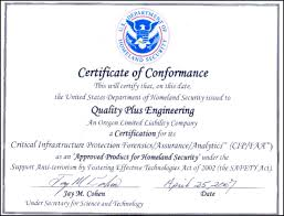 Certificate Dhs Of Conformance Engineering Quality
