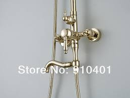 golden bathroom shower column faucet wall: new wholesale retail promotion new luxury golden bathtub shower faucet set bathroom shower column wall