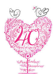 40th ruby wedding anniversary gift print