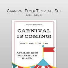 Pta Templates School Carnival Flyer Template For Pta Pto Editable School Etsy