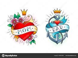 набор классических тату сердце с цветами и слова мама на ленте