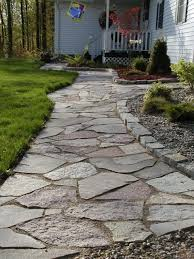 diy flagstone patio lovely do this over the rock concrete sidewalk that s there now this