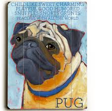 pug dog signs with dog breeds gifts for dog wooden sign