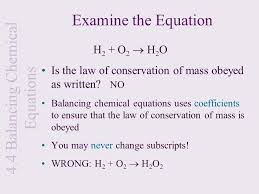 balancing chemical equations h2 o2 h2o calculations and the chemical equation ppt
