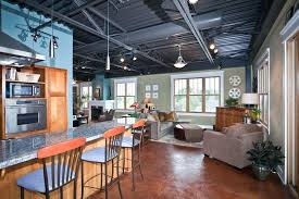 track lighting industrial look. Industrial Look Basement Exposed Ceiling Kitchen With Eat In Track Lighting Style Finished M