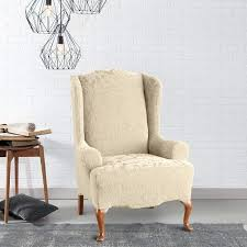 grey slipcover chair sure fit stretch jacquard damask wing chair slipcover today grey