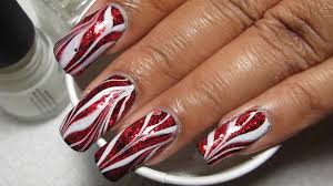 Red Glitter & White (Glam Bacon!) Water Marble Nail Art Tutorial ...