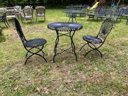 patio set cast aluminum table with two