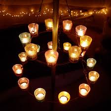 double multi coloured tea light chandelier bell tent uk camping with soul