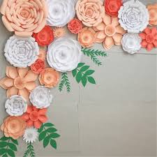 Pink Paper Flower Decorations 30cm Diy Paper Flowers Leaves Backdrop Decorations Kid Birthday Party Wedding Favor