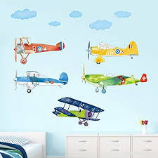 decalmile colorful airplane wall decals