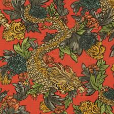 dwell studio for robert allen design ming dragon persimmon designer fabric by the yard chinoiserie