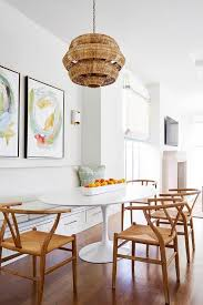 tiered wicker chandelier with built in banquette
