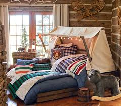 log cabin theme bedroom