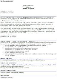 Hr Coordinator Cv Sample Hr Coordinator Cv Example Icover Org Uk