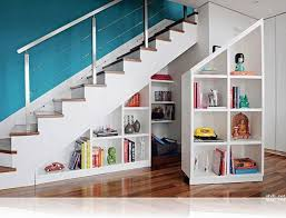 diy staircase storage ideas for small hallway spaces with blue wall color and laminated wooden flooring decor idea