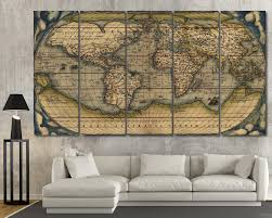large vintage wall art old world map at paris maps piece canvas w full
